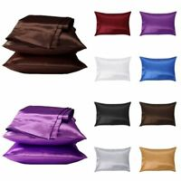 1/2Pcs Silk Pillow Case Cushion Cover Pillowcase Standard Queen Size Solid Color
