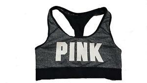 Victoria's Secret PINK Logo Ultimate Racerback sport Bra Marl Gray Large
