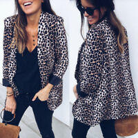 Women Slim OL Suit Casual Blazer Leopard Jacket Coat Tops Outwear Long Sleeve