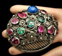 "Rare Vintage 3"" Signed Hobe' Sterling Open Back Glass Rhinestone Brooch Pin M9"