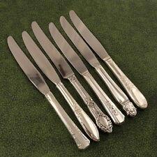 6 Vintage Mismatched Assorted Floral Dinner Knives Vintage Silverplate Lot F