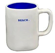 Rae Dunn coffee mug BEACH large asymmetrical white porcelain cup blue inside