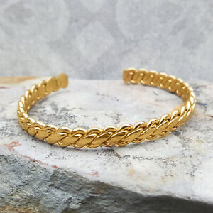 18 Kt Stamped Real Solid Yellow Gold Men's Braided Bracelet Wide 8 MM 40 Grams