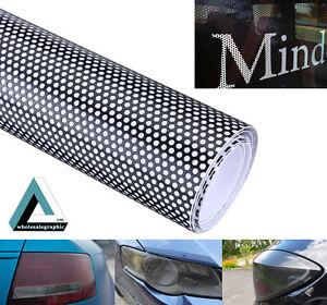 450x107cm Car Window FlyEye Spi Vision Headlight Vinyl Wrap Black Mesh Tint Film