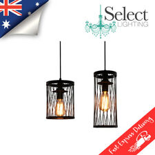 JUDY - NEW - Matte Black Wire & Clear Glass inner hanging pendant lighting !