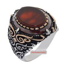 Turkish  Ottaman Mens Ring Red  yemeni Agate Aqeeq 925 sterling silver TR 10