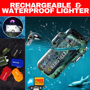 Waterproof Electric Lighter Dual Arc Plasma Flameless Windproof USB Rechargeable