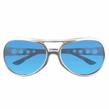 King Elvis Presley Costume Sunglasses Glasses Aviator Style Blue Lens Sliver Frm