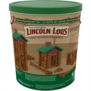 Lincoln Logs –100th Anniversary Tin-111 Pieces-Real Wood Logs-Ages 3+ - Best