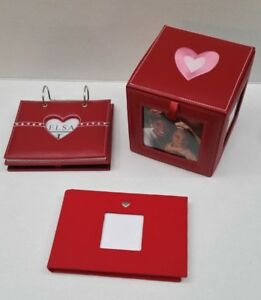 Brand New Red Faux Leather Heart Photo Storage Cube Frame Album Fabric Brag Book