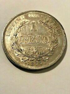 1877 Uruguay Silver Peso XF++ #21209