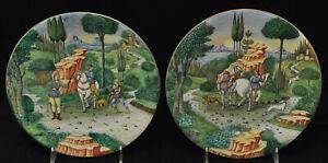 Pair of Antique Cantagalli Hand Painted Huntsmen Italian Majolica Cabinet Plates