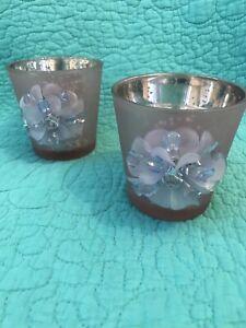 2 Purple/Silver Mercury Glass Votive Candle Holders•Blue Beaded Flowers