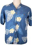 Summa Men's M Hawaiian camp shirt, textured blue, white and yellow flowers