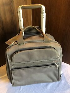TUMI Wheeled Rolling Briefcase Computer Bag Carryon Nylon Grey/Green with Lock