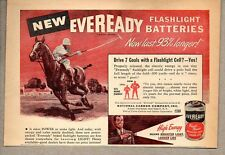 1947 Print Ad Eveready Flashlight Batteries Polo Player on Horse