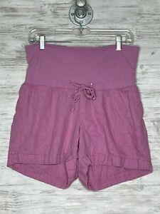 Old Navy Maternity Shorts Size M Womens Purple Elastic Waist Pull On Linen