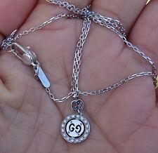 "Small 10mm diameter diamond GUCCI necklace pendant Logo 16"" or 17"" 18k WG"
