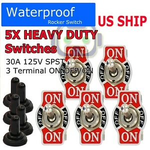 X5 Toggle Switch Heavy Duty 20A 125V SPST 3Terminal ON/OFF/ON Car Waterproof