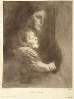 Eugene CARRIERE gravure Eau Forte Original etching mère et enfant 1900