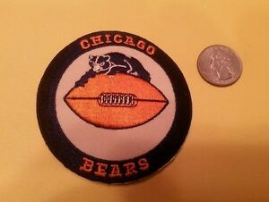 """Vintage 1980s Chicago Bears 3"""" Round Patch Old Logo  IRON ON ( BIG SALE"""