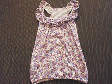 LADIES CUTE FRILLY WHITE PURPLE BROWN FLORAL SLEEVELESS TOP NO LABEL - SIZE 8/10