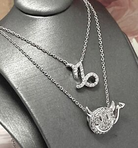 2pc Lot Sterling Silver 0.20ct Diamonique Diamond Pendant Chain Necklace