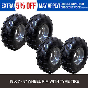 4x 19 X 7 - 8 Inch Wheels Tyre Rim 125/150/200/250CC Quad Bike ATV Buggy Go Kart