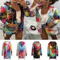 Women Tie dye Print Coat Outwear Sweatshirt Hooded Zip Up Jacket Overcoat