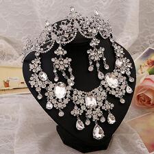 Wedding Bride Crystal Tiara Necklace Earring Set Statment Rhinestone Jewelry Set