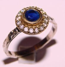 2.50 Gm Blue Sapphire Ring Two Tone Ring 925 Solid Sterling Silver Us 8.2 K-562