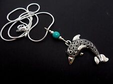 """A PRETTY TIBETAN SILVER DOLPHIN THEMED TURQUOISE BEAD NECKLACE. NEW. 18"""" CHAIN."""
