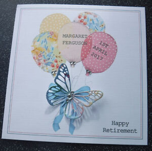 HANDMADE PERSONALISED RETIREMENT CARD,FLORAL BALLOONS