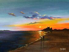 MAL.BURTON ORIGINAL OIL PAINTING BAMBURGH CASTLE NORTHERN ART DIRECT FROM ARTIST
