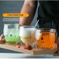 Creative Cartoon Baby Cute Animal Double layer Glass Coffee Mug Milk Glassware