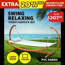 Gardeon Wooden Swinging Bed Outdoor Furniture Timber Hammock Bed Pillow Chair