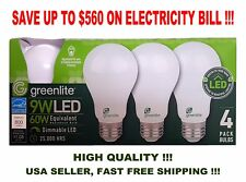 4 LED Light Bulbs GREENLITE 9W / 60W Equivalent Soft White (3000K) A19 Dimmable