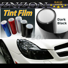 "Dark Black 12""x60"" Headlight Fog Light Taillight Tint Vinyl Film Sheet Sticker"
