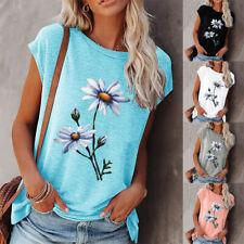 Women Summer Casual Floral Blouse Crew Neck Short Sleeve T Shirt Loose Beach Top