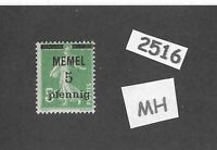 #2516   MH stamp / 1920 Memel 5 on 5 overprint / Lithuania / Prussia / Germany