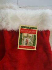 """2 Vtg NWT Red 15"""" Velveteen Christmas Stockings with White Fur Trim"""
