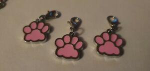 Dog / Cat Animal Paw Keyring Pendant Charm Clip - Puppy Kitten Collar Pink