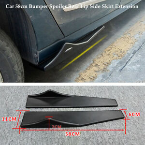 Pair 58cm Bumper Spoiler Rear Lip Side Skirt Splitters Winglet Wing Left+Right