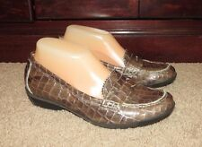 6ec19016632 Aquatalia By Marvin K Brown Patent Leather Croco Print Loafers ~ Sz.6.5 M