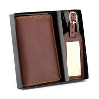Italian Leather Passport Holder and Luggage Tag Set by Tony Perotti - RRP £40.00