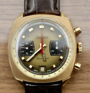 Handsome Dufonte Lucien Piccard Valjoux 7734 Chronograph Gold Watch - Serviced!