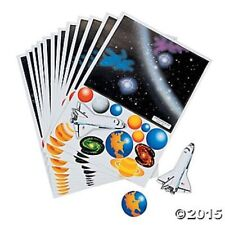 12 Make a Space Solar System Sticker Sheets Kids Crafts Birthday Party Favors