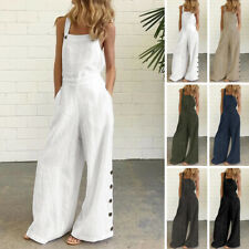 Womens Summer Jumpsuits Sleeveless Cotton Dungarees Wide Leg Overalls Long Pants