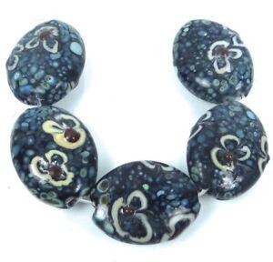 Lampwork Handmade Glass Oval Beads 25mm - Blue Blossoms (5)