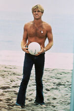 Robert Redford bare chested on beach with volleyball 11x17 Mini Poster